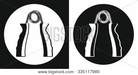 Hand Grip Trainer Icon. Silhouette Hand Grip Trainer On A Black And White Background. Sports Equipme