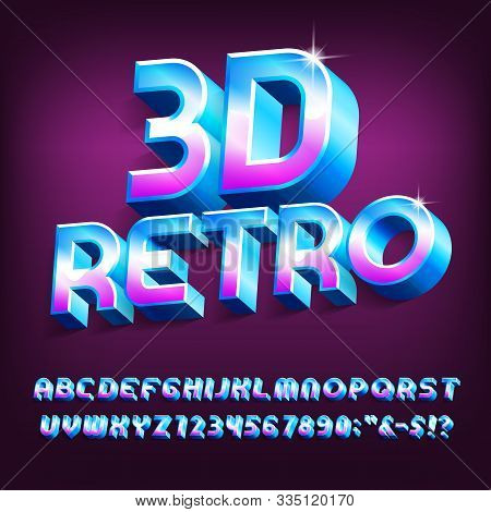 3d Retro Alphabet Font. Vivid Colors Letters, Numbers And Symbols With Shadow. Stock Vector Typescri