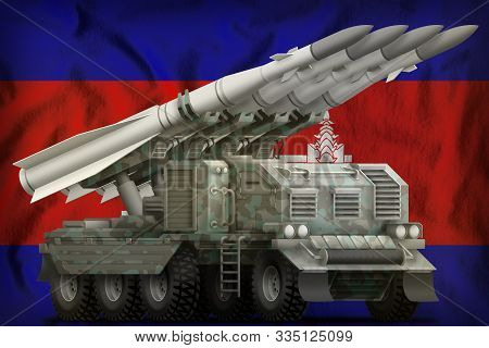 Tactical Short Range Ballistic Missile With Arctic Camouflage On The Cambodia Flag Background. 3d Il