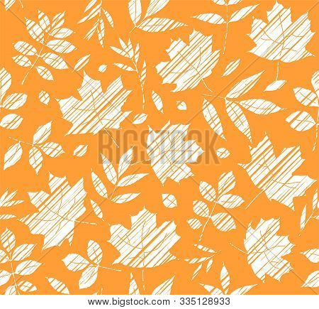 The Leaves Of The Trees, Seamless Background, Orange, Shading, Vector. White Leaves On An Orange Fie