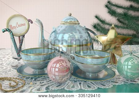 3D Illustration Of Merry Christmas Card With Christmas Tree Toys Tea Cup Candy Teakettle Lace Tablec