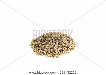 Pile Of Dried Ononis, Ononis Spinosa L Shredded Roots Isolated On White Background.