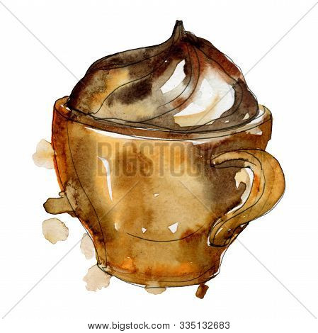 Hot Coffee Soft Drinks. Watercolor Background Illustration Set. Isolated Coffee Illustration Element