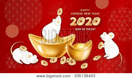 White Metal Rat Is A Symbol Of 2020 Chinese New Year. Greeting Card With Cute Mice Around Realistic