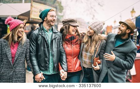 Millennial Friends Group Walking At London City Center - Next Generation Friendship Concept On Multi