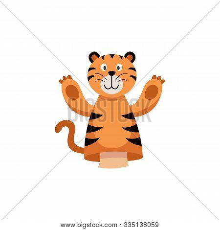 Tiger Hands Or Finger Puppet Color Icon , Flat Vector Illustration Isolated.