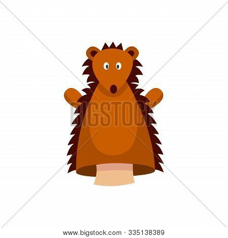 Cute Brown Hedgehog Hand Puppet Isolated On White Background.