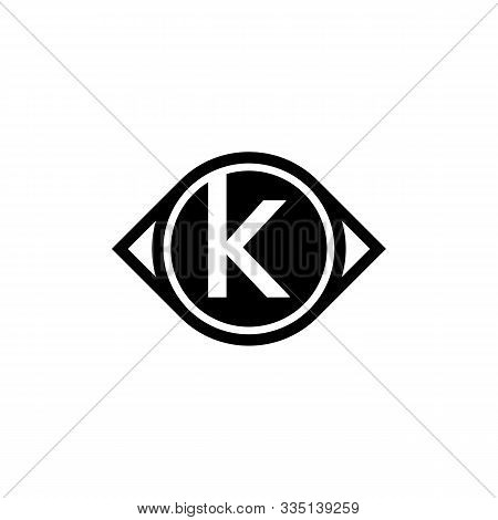 Letter K Icon Design With Vision Circle. Glance Or Eye Letter Creative Business Alphabet Logo Icon.