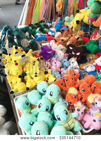 Seoul, South Korea - October 31, 2019: Various Pokemon Stuffed Toys In Outdoor Stall On Market In In