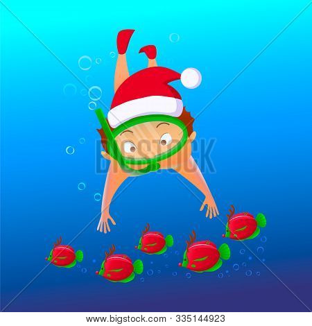 Cartoon Character In Snorkeling Mask And Red Christms Santa Hat Under Water With Colorful Reindeer F