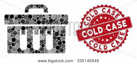 Collage Analysis Case And Grunge Stamp Seal With Cold Case Phrase. Mosaic Vector Is Formed With Anal