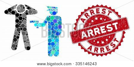 Mosaic Arrest And Rubber Stamp Seal With Arrest Text. Mosaic Vector Is Designed With Arrest Icon And