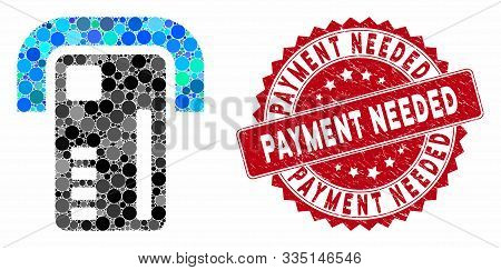 Mosaic Atm Machine And Distressed Stamp Seal With Payment Needed Text. Mosaic Vector Is Created With