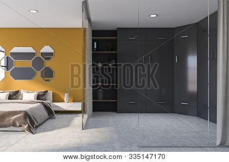 Yellow Master Bedroom Interior With Wardrobe