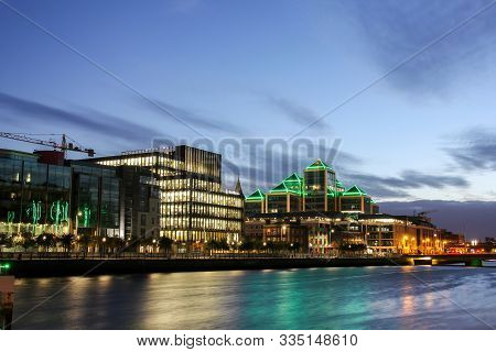 Dublin, Ireland - September 09. 2018: City Center With Business Quarter At The Late Sunset Time On T