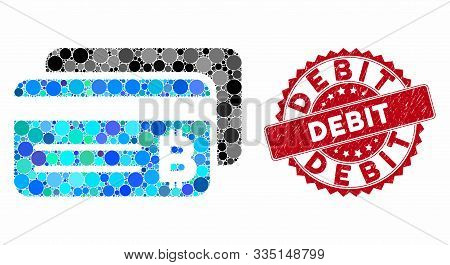 Mosaic Bitcoin Bank Cards And Corroded Stamp Watermark With Debit Caption. Mosaic Vector Is Designed
