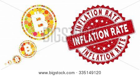 Collage Bitcoin Inflation And Grunge Stamp Seal With Inflation Rate Caption. Mosaic Vector Is Design