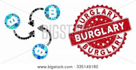 Mosaic Bitcoin Mixer Swirl And Distressed Stamp Seal With Burglary Phrase. Mosaic Vector Is Designed