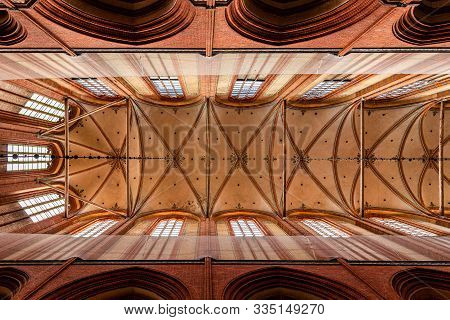 Wismar, Germany - August 2, 2019: Church Of St. Nicholas. Interior View Directly Below The Vaults Of