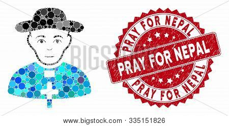 Mosaic Catholic Shepherd And Grunge Stamp Seal With Pray For Nepal Phrase. Mosaic Vector Is Formed F