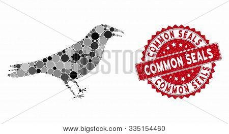 Mosaic Crow And Corroded Stamp Seal With Common Seals Text. Mosaic Vector Is Designed With Crow Icon