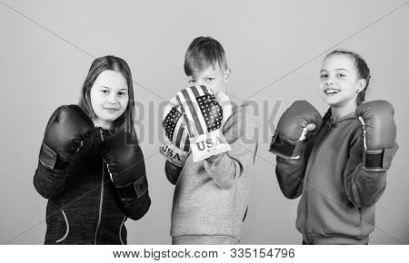 Friendly Sparring. Boy And Girls Friends Wear Boxing Gloves With Usa Flag. American Sport Concept. C