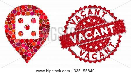 Mosaic Dice Casino Marker And Grunge Stamp Watermark With Vacant Text. Mosaic Vector Is Formed With