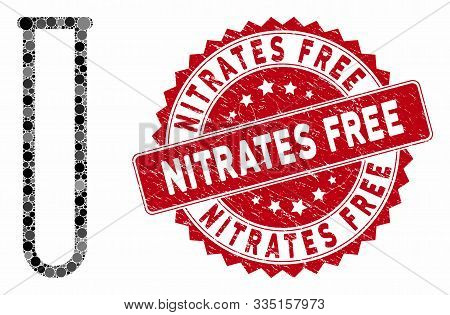 Mosaic Empty Chemical Test Tube And Corroded Stamp Seal With Nitrates Free Caption. Mosaic Vector Is