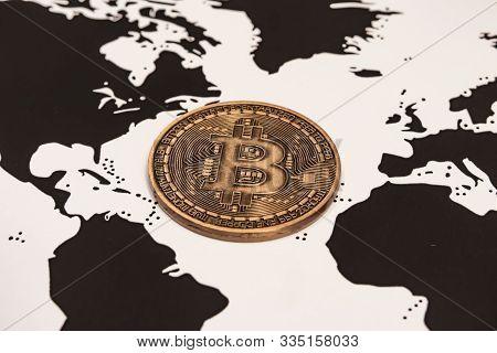 Istanbul,turkey-november 22,2019.cyripto Money Mining. Bitcoin (btc) Is A Consensus Network That Pro