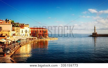 Famouse Venetian Harbour Waterfront And Lighthouse Of Chania Old Town, Crete, Greece, Web Banner For