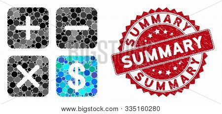 Mosaic Financial Calculator And Grunge Stamp Seal With Summary Text. Mosaic Vector Is Composed With