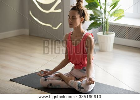Toned Millennial Woman Meditate Practicing Yoga At Home