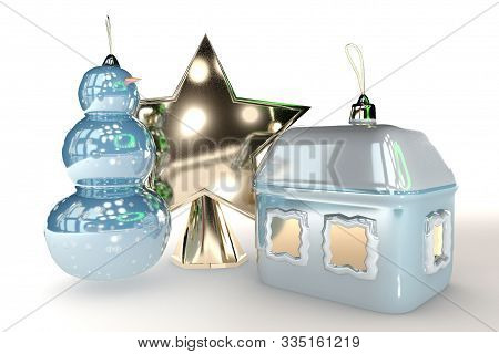 3D Illustration Of Merry Christmas Tree Toy House Snowman And Star Isolated On White