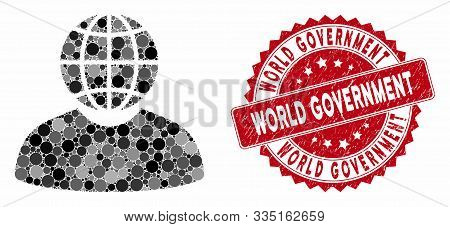 Mosaic Global Politician And Grunge Stamp Seal With World Government Text. Mosaic Vector Is Designed