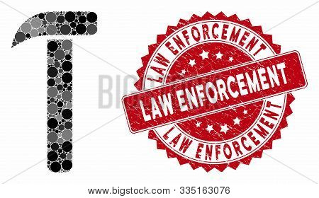 Mosaic Hammer And Grunge Stamp Seal With Law Enforcement Caption. Mosaic Vector Is Formed With Hamme