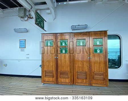 The Lifejacket Locker On A Cruise Ship Where Lifejackets Are Available In Case Of An Emergency.