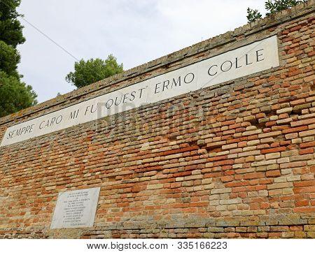 Recanati, Mc, Italy - November 2, 19: Famous Wall Of Poet Giacomo Leopardi With Text Of His Poem Cal