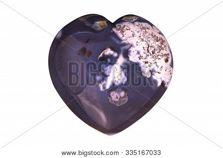 Natural Gemstone Dendritic Agate Carved Heart Polished On White  Background