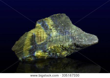 Macro Shooting Of Gem Raw Natural Labradorite Mineral Texture As Very Nice Natural Background