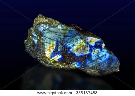 Macro Shooting Of Gem Raw Natural Labradorite Mineral Texture As Very Nice Natural Background ,