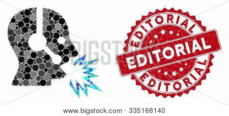 Mosaic Operator Shout And Rubber Stamp Seal With Editorial Phrase. Mosaic Vector Is Created With Ope