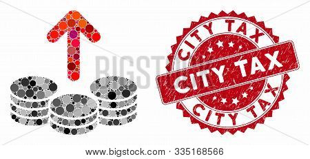 Mosaic Payout Coins And Corroded Stamp Seal With City Tax Caption. Mosaic Vector Is Formed With Payo