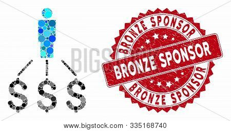 Mosaic Person Expenses And Grunge Stamp Seal With Bronze Sponsor Caption. Mosaic Vector Is Formed Wi