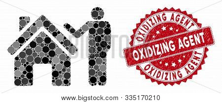 Mosaic Realty Buyer And Grunge Stamp Seal With Oxidizing Agent Text. Mosaic Vector Is Created With R