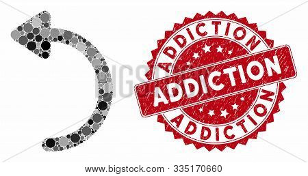 Mosaic Rotate Ccw And Rubber Stamp Seal With Addiction Phrase. Mosaic Vector Is Composed With Rotate