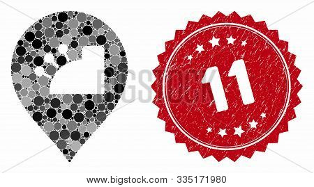 Collage Shop And Distressed Stamp Seal With 11 Caption. Mosaic Vector Is Formed With Shop Icon And W