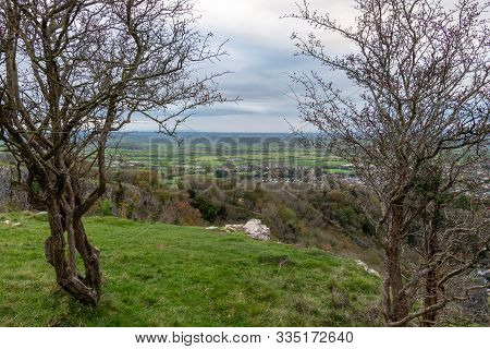 View Of The Somerset Levels From The Top Of Cheddar Gorge In Somerset.