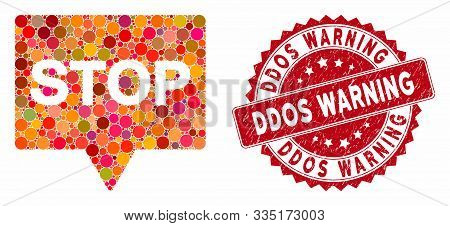 Mosaic stop banner and rubber stamp watermark with Ddos Warning caption. Mosaic vector is composed with stop banner icon and with random round elements. Ddos Warning stamp uses red color, poster