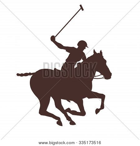 Silhouette Of Polo Rider Horse Vector Illustration