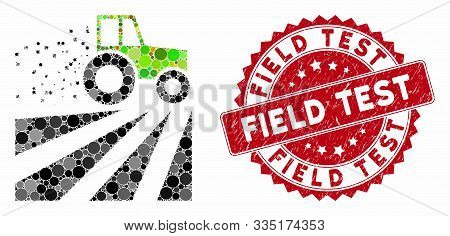 Mosaic Tractor Dust Field And Corroded Stamp Seal With Field Test Phrase. Mosaic Vector Is Created F